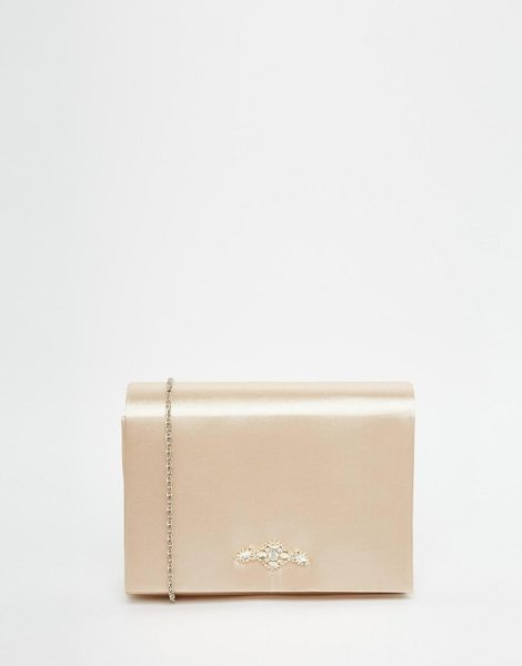 Neve & Eve Box clutch bag with jewel in beige - Cart by Neve & Eve, Gold-plated outer, Hard case design,...