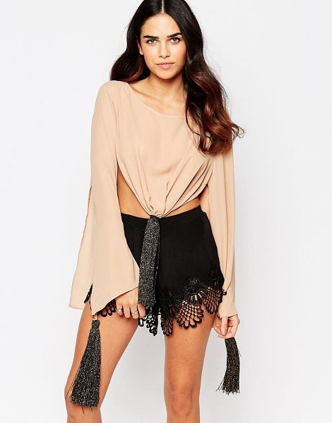 Never Fully Dressed Tie front top in brown - Top by Never Fully Dressed, Woven fabric, Crew neckline,...