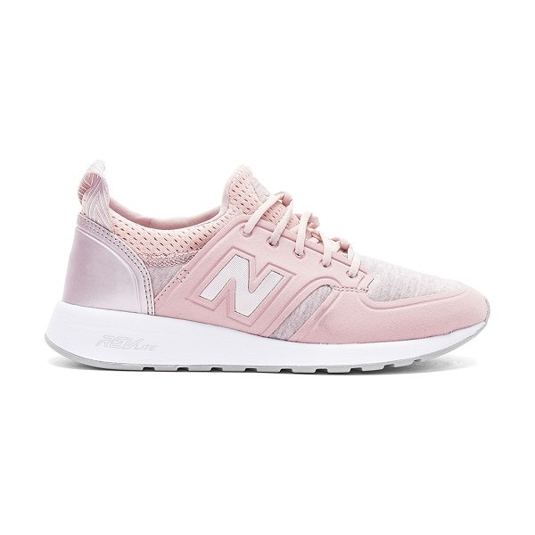 New Balance 420 Sneaker in faded rose & champagne metallic - Textile upper with rubber sole. Lace-up front. Metallic...