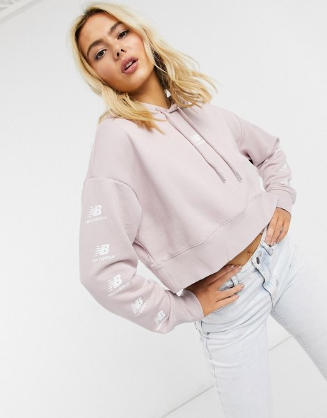 New Balance stacked logo cropped hoodie in pink in pink