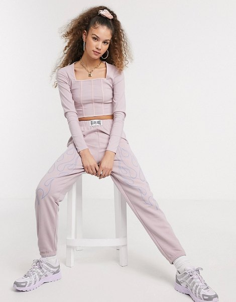 New Girl Order long sleeve corset effect crop top two-piece-pink in pink