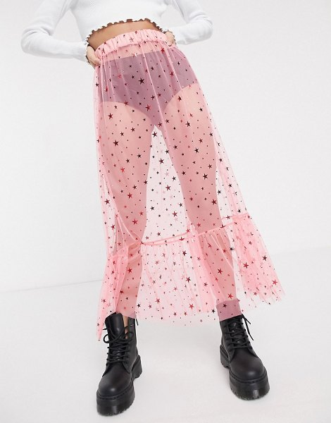 New Girl Order midi skirt in star print mesh with ruffle hem-pink in pink