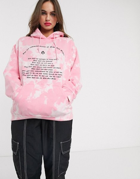 New Girl Order oversized hoodie in tie dye with 10 commandments graphic-pink in pink
