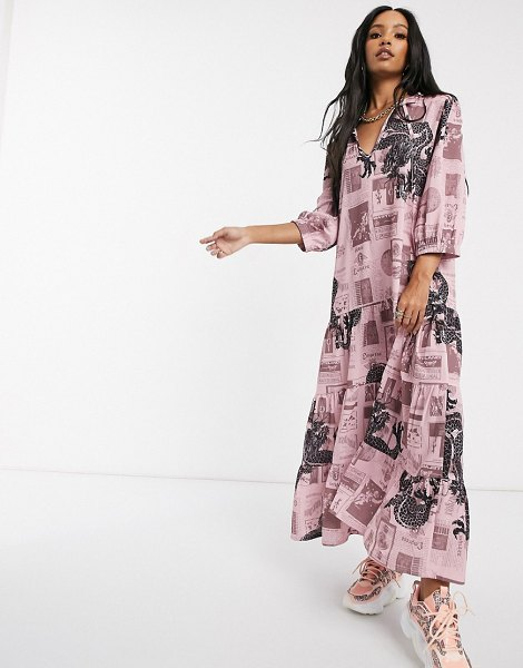 New Girl Order tie neck maxi smock dress in mix print crinkle fabric-pink in pink