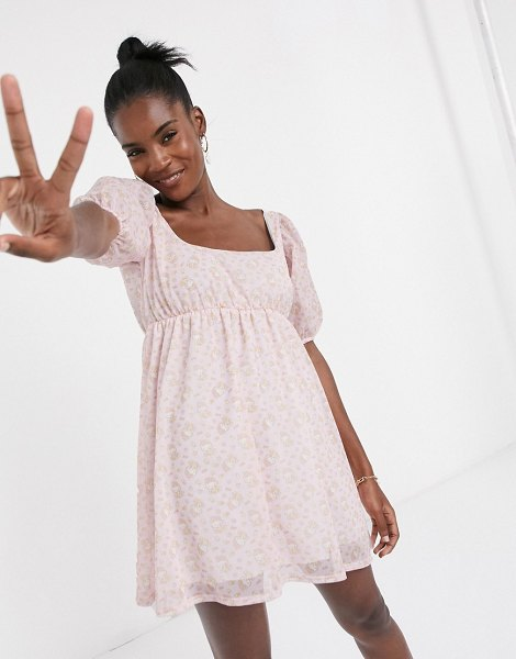 New Girl Order x hello kitty mini smock dress with puff sleeves in all over print-pink in pink