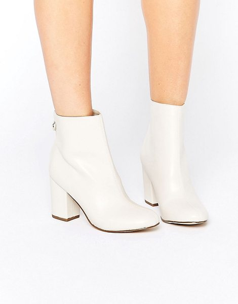 New Look 60's Block Heel Boots in cream - Boots by New Look, Faux-leather upper, Zip-back...