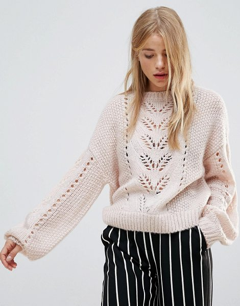 New Look Balloon Sleeve Knit Sweater in beige - Sweater by New Look, Soft-touch knit, Pointelle design,...