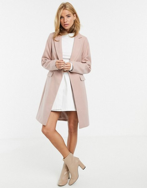 New Look button front coat in light pink in pink