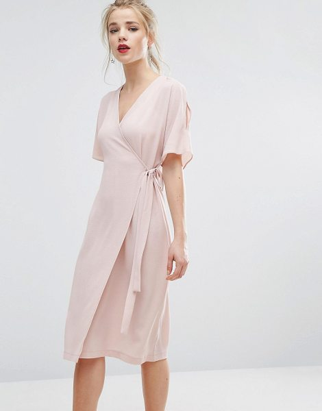 "New Look Cold Shoulder Wrap Midi Dress in pink - """"Dress by New Look, Lightweight textured fabric, Wrap..."