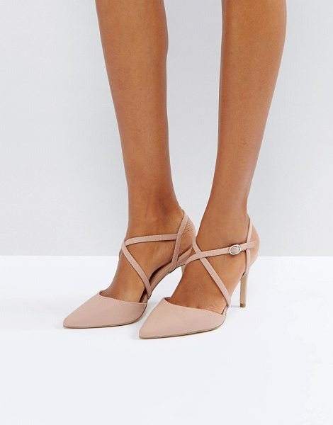 """New Look Cross Strap Heeled Court Shoe in pink - """"""""Shoes by New Look, Faux leather upper, Ankle-strap..."""