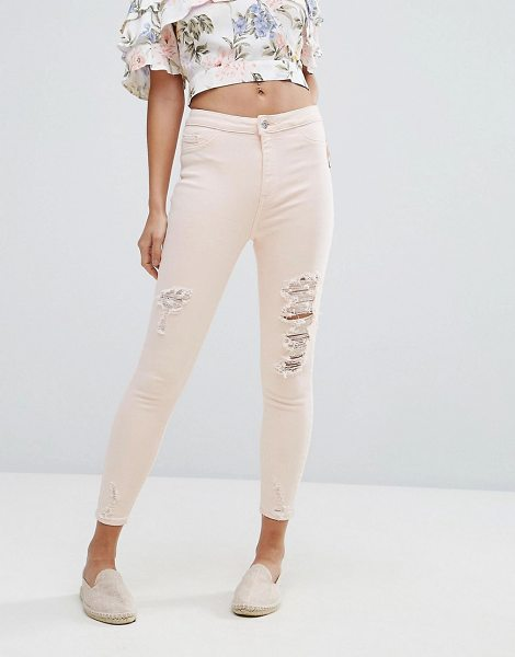 """New Look Distressed Knee Skinny Jean in pink - """"""""Skinny jeans by New Look, Stretch denim, High-rise..."""