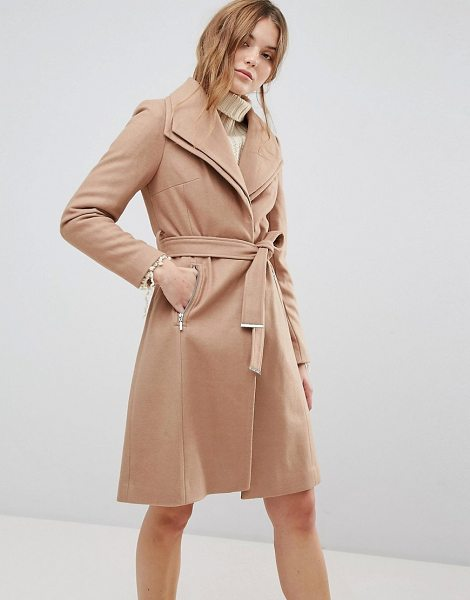 New Look Double Waterfall Belted Coat in brown - Coat by New Look, Oversized double-layer lapel,...
