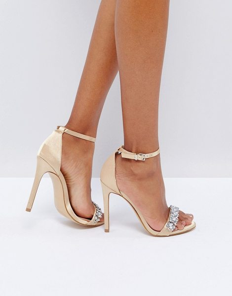 "New Look Embellished Barely There Heeled Sandal in gold - """"Heels by New Look, Metallic satin-style upper,..."