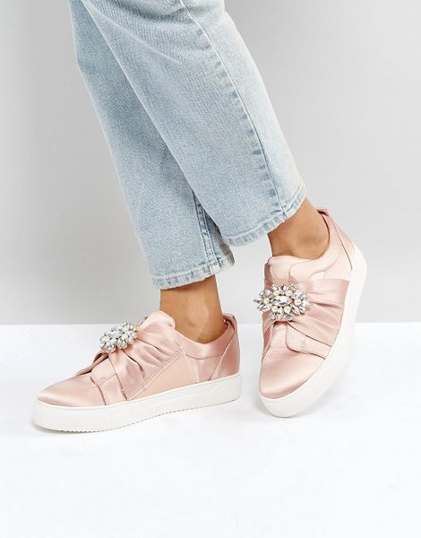 "NEW LOOK Embellished Brooch Satin Sneaker - """"Sneakers by New Look, Textile upper, Satin finish,..."