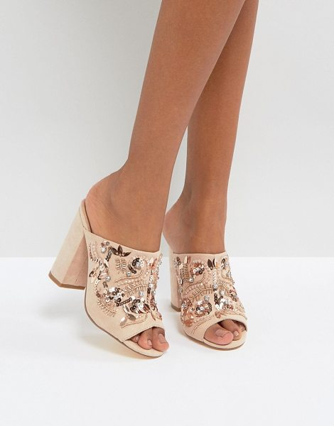"""New Look Embellished Heeled Mule Sandals in beige - """"""""Mules by New Look, Faux-suede upper, Slip-on style,..."""