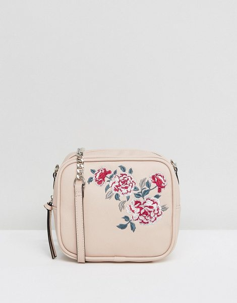 New Look Embroidered Camera Bag in pink