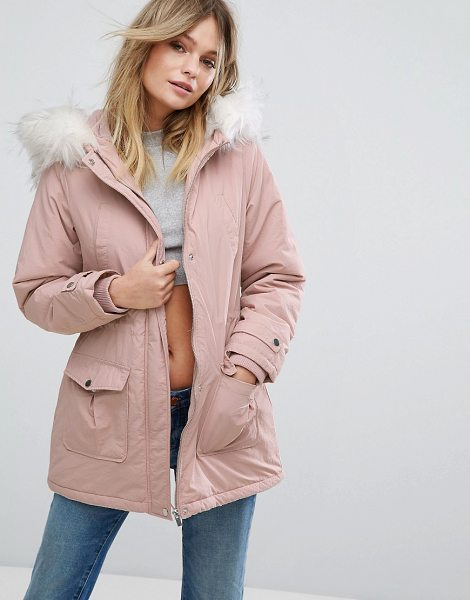 "New Look Faux Fur Hood Parka Coat in pink - """"Parka by New Look, Smooth woven fabric, Padded lining..."