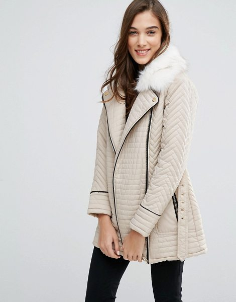 NEW LOOK Faux Fur Quilted Biker Jacket - Biker jacket by New Look, Quilted woven fabric, Faux fur...