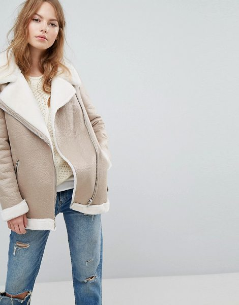NEW LOOK Faux Shearling Suedette Aviator Jacket - Jacket by New Look, Suedette fabric, Faux shearling, Zip...