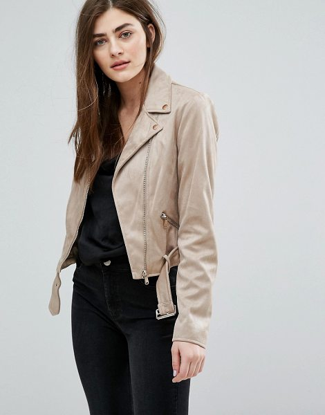 New Look Faux Suede Biker Jacket in beige - Biker jacket by New Look, Faux suede, Studded lapels,...