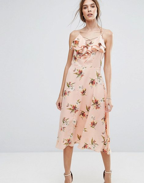 "New Look Floral Ruffle Midi Dress in pink - """"Midi dress by New Look, Lightweight lined chiffon,..."