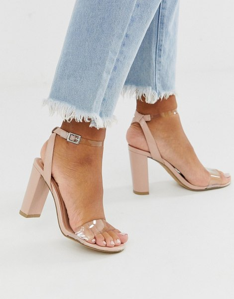 New Look heeled sandals with clear detail in beige-tan in tan