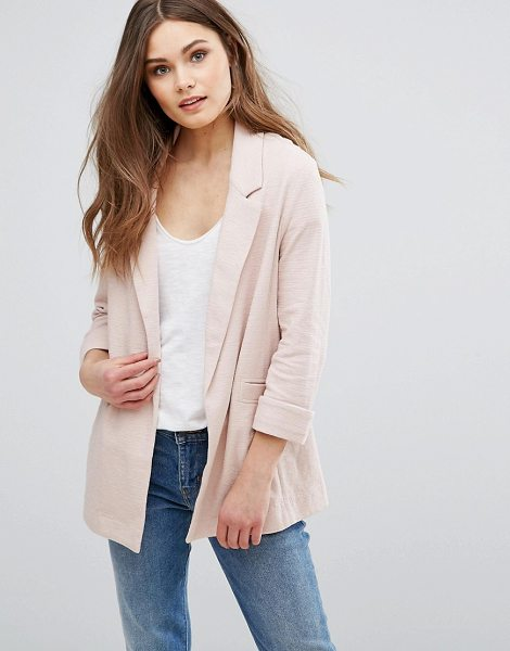 New Look Jersey Tailored Blazer in pink - Blazer by New Look, Soft-touch jersey, Notch lapels,...