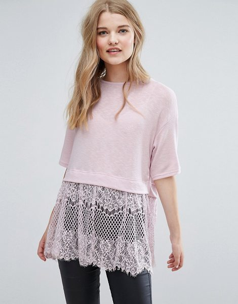 NEW LOOK Lace Hem T-Shirt - Top by New Look, Soft-touch jersey, Crew neck, Eyelash...