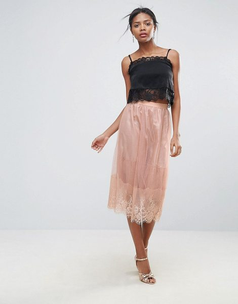 "New Look Lace Trim Tulle Midi Skirt in pink - """"Midi skirt by New Look, Lined tulle, High-rise waist,..."