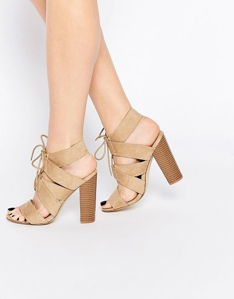 New Look Lace Up Block Heeled Sandals in beige - Sandals by New Look, Faux suede, Lace front, Block heel,...