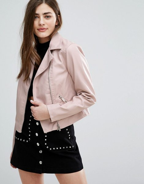 "New Look Leather Look Biker Jacket in pink - """"Biker jacket by New Look, Faux-leather, Fully lined,..."