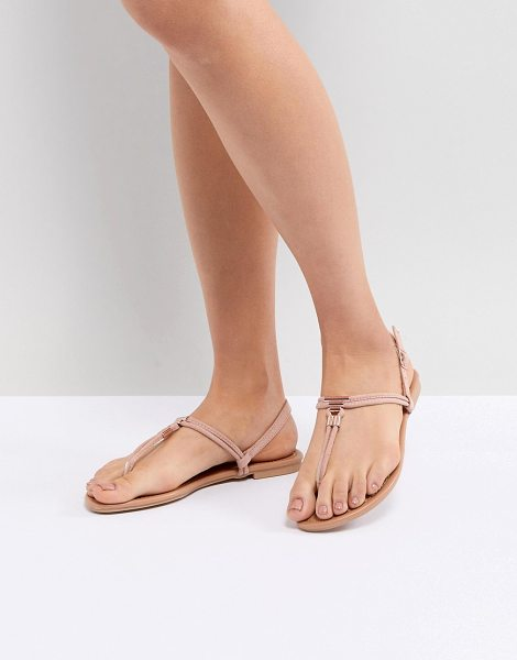 New Look leather look toe post metal detail flat sandal in pink - Sandals by New Look, Sweet looks from the ground up,...