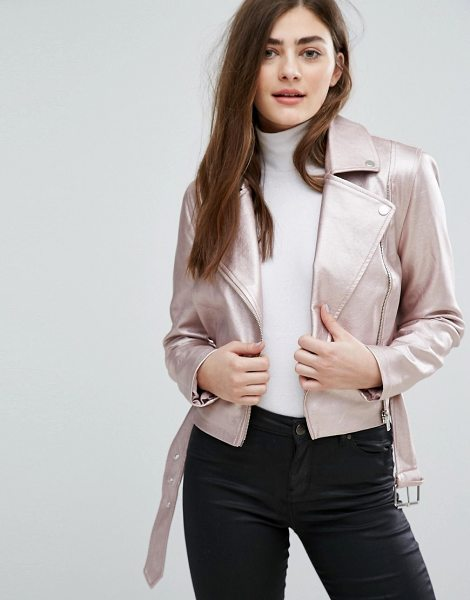 "NEW LOOK Metallic Faux Leather Biker Jacket - """"Biker jacket by New Look, Lined faux-leather, Metallic..."