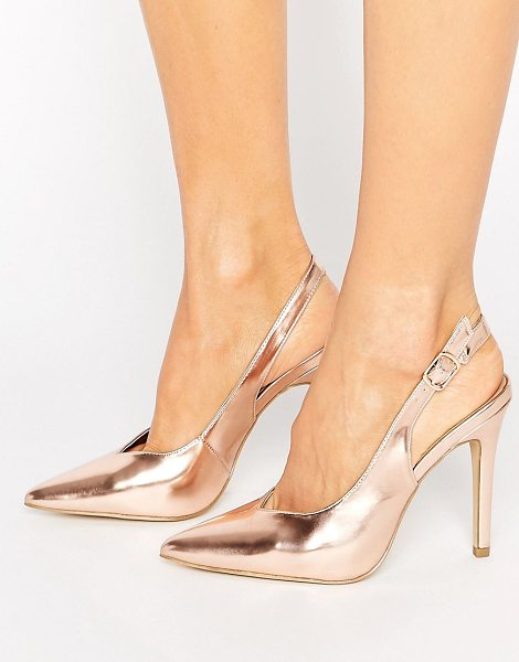 New Look Metallic Slingback Heel in gold - Heels by New Look, Faux-leather upper, Metallic finish,...