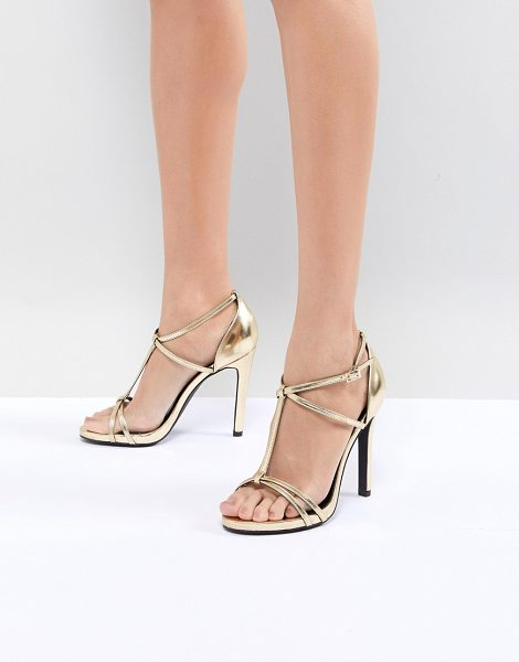New Look metallic t-bar sandal in gold - Sandals by New Look, Gold-tone metallic upper, It's...