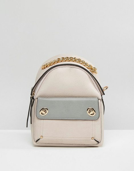 New Look Mini Chain Handle Backpack in beige - Backpack by New Look, Faux-leather outer, Fully lined,...