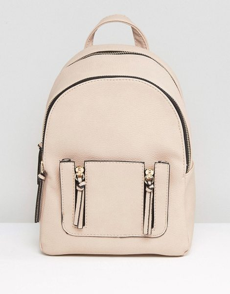 New Look Mini Zip Pocket Backpack in stone - Backpack by New Look, Smooth outer, Adjustable straps,...