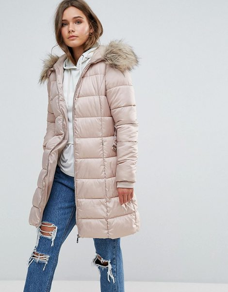 New Look Padded Coat With Extreme Faux Fur Hood in nude - Coat by New Look, Smooth woven fabric, Padded for extra...