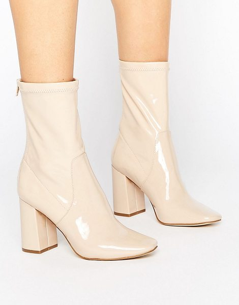 New Look Patent Heeled Ankle Boot in beige - Boots by New Look, Faux leather upper, High-shine patent...