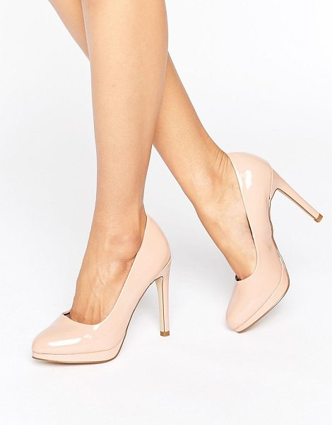 New Look Patent Round Toe Court Shoe in beige - Heels by New Look, Patent faux-leather upper, Slip-on...