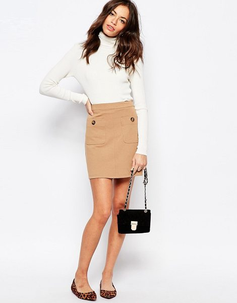 New Look Pocket detail a-line skirt in tan - Skirt by New Look, Soft-touch ponte, Unlined design, Mid...
