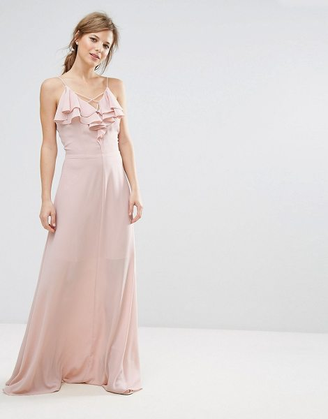 "New Look Ruffle Front Maxi Dress in nude - """"Dress by New Look, Lined chiffon, V-neck, Strap..."
