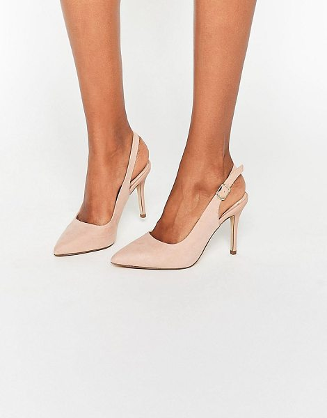 New Look Slingback Pointed Shoe in stone - Shoes by New Look, Faux-suede upper, Ankle-strap...