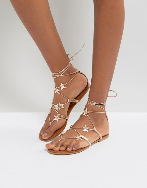 NEW LOOK Star Lace Up Flat Sandal - Sandals by New Look, Faux-leather upper, Metallic...