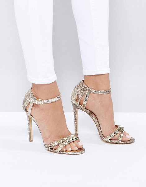 NEW LOOK Studded Metallic Heeled Sandal in gold - Heels by New Look, Metallic upper, Ankle-strap...