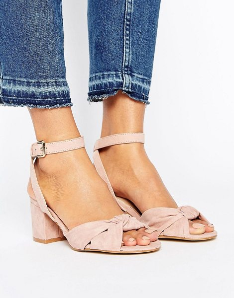 "New Look Suedette Knot Front Block Heel in stone - """"Shoes by New Look, Faux-leather upper, Ankle-strap..."