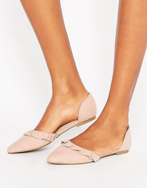 New Look Suedette Ruffle Back Flat Shoe in beige - Shoes by New Look, Textile upper, Slip-on design, Ruffle...