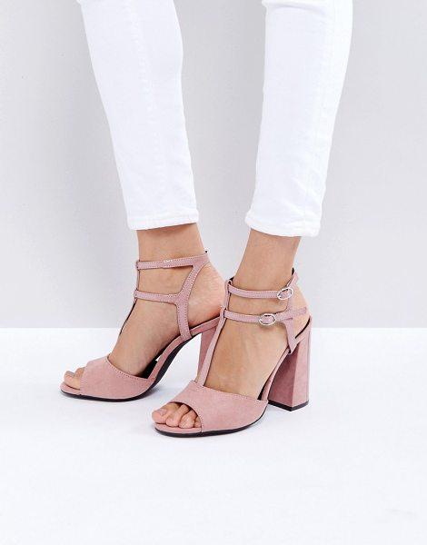 "New Look Suedette T Bar Block Heeled Sandal in pink - """"Heels by New Look, Faux-suede upper, Double..."