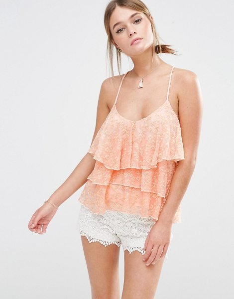 NEW LOOK Tiered Lace Cami - Tank by New Look, Lined embroidered mesh, Scoop...