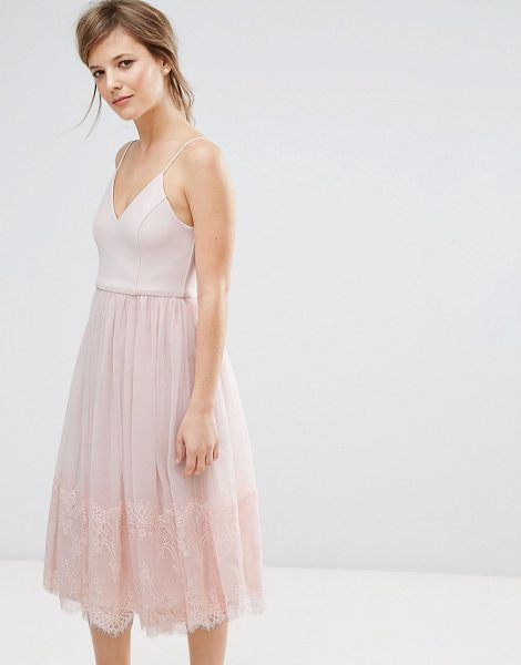 "New Look tulle midi prom dress in nude - """"Dress by New Look, Smooth woven top, Cami straps,..."